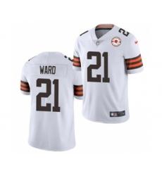 Men's Cleveland Browns #21 Denzel Ward 2021 White 75th Anniversary Patch Vapor Untouchable Limited Jersey