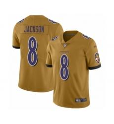 Men's Baltimore Ravens #8 Lamar Jackson Limited Gold Inverted Legend Football Jersey
