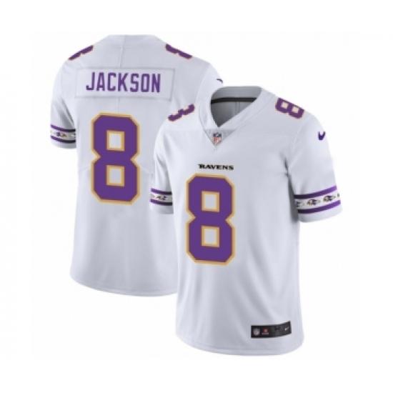 Men's Baltimore Ravens #8 Lamar Jackson White Team Logo Cool Edition Jersey