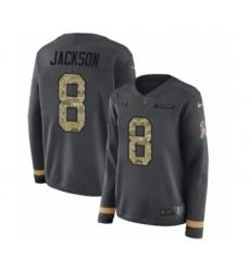 Women's Nike Baltimore Ravens #8 Lamar Jackson Limited Black Salute to Service Therma Long Sleeve NFL Jersey