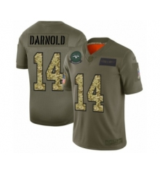 Men's New York Jets #14 Sam Darnold 2019 Olive Camo Salute to Service Limited Jersey