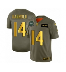 Men's New York Jets #14 Sam Darnold Limited Olive Gold 2019 Salute to Service Football Jersey