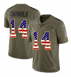 Men's Nike New York Jets #14 Sam Darnold Limited Olive/USA Flag 2017 Salute to Service NFL Jersey