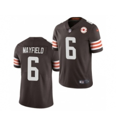 Men's Cleveland Browns #6 Baker Mayfield 2021 Brown 75th Anniversary Patch Vapor Untouchable Limited Jersey
