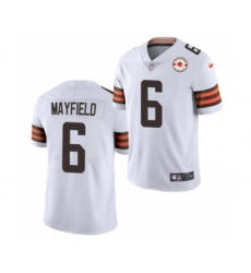 Men's Cleveland Browns #6 Baker Mayfield 2021 White 75th Anniversary Patch Vapor Untouchable Limited Jersey