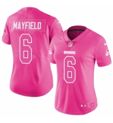 Women's Nike Cleveland Browns #6 Baker Mayfield Limited Pink Rush Fashion NFL Jersey