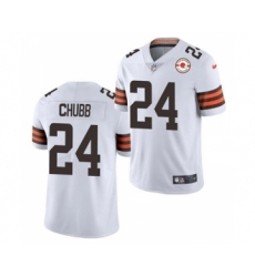 Men's Cleveland Browns #24 Nick Chubb 2021 White 75th Anniversary Patch Vapor Untouchable Limited Jersey