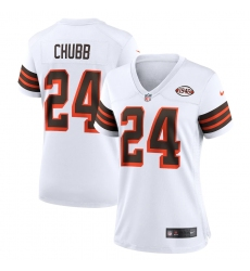 Women's Cleveland Browns #24 Nick Chubb Nike White 1946 Collection Alternate Jersey