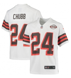 Youth Cleveland Browns #24 Nick Chubb Nike White 1946 Collection Alternate Jersey
