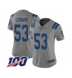 Women's Nike Indianapolis Colts #53 Darius Leonard Limited Gray Inverted Legend 100th Season NFL Jersey