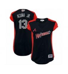 Women's Atlanta Braves #13 Ronald Acuna Jr. Authentic Navy Blue National League 2019 Baseball All-Star Jersey