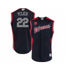Men's Milwaukee Brewers #22 Christian Yelich Authentic Navy Blue National League 2019 Baseball All-Star Jersey