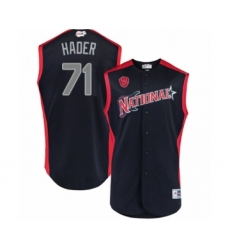 Men's Milwaukee Brewers #71 Josh Hader Authentic Navy Blue National League 2019 Baseball All-Star Jersey