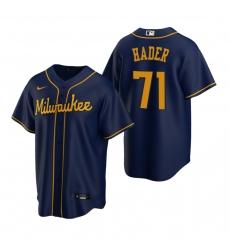 Men's Nike Milwaukee Brewers #71 Josh Hader Navy Alternate Stitched Baseball Jersey
