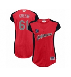 Women's Detroit Tigers #61 Shane Greene Authentic Red American League 2019 Baseball All-Star Jersey
