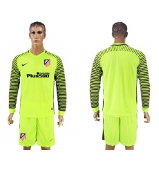Atletico Madrid Blank Shiny Green Goalkeeper Long Sleeves Soccer Club Jersey