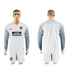 Atletico Madrid Blank White Goalkeeper Long Sleeves Soccer Club Jersey2
