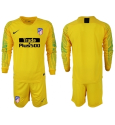 Atletico Madrid Blank Yellow Goalkeeper Long Sleeves Soccer Club Jersey