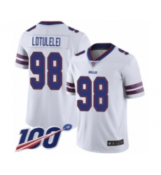 Men's Buffalo Bills #98 Star Lotulelei White Vapor Untouchable Limited Player 100th Season Football Jersey