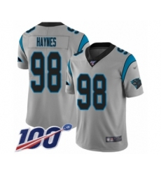 Men's Carolina Panthers #98 Marquis Haynes Silver Inverted Legend Limited 100th Season Football Jersey