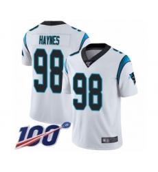 Men's Carolina Panthers #98 Marquis Haynes White Vapor Untouchable Limited Player 100th Season Football Jersey