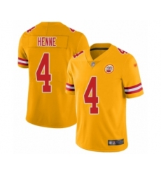 Youth Kansas City Chiefs #4 Chad Henne Limited Gold Inverted Legend Football Jersey