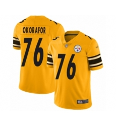 Men's Pittsburgh Steelers #76 Chukwuma Okorafor Limited Gold Inverted Legend Football Jersey
