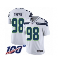 Men's Seattle Seahawks #98 Rasheem Green White Vapor Untouchable Limited Player 100th Season Football Jersey