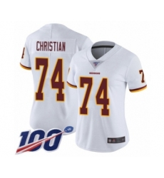 Women's Washington Redskins #74 Geron Christian White Vapor Untouchable Limited Player 100th Season Football Jersey