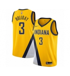 Men's Indiana Pacers #3 Aaron Holiday Swingman Gold Finished Basketball Jersey - Statement Edition