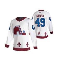 Men's Colorado Avalanche #49 Samuel Girard White 2020-21 Reverse Retro Alternate Hockey Jersey