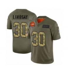 Men's Denver Broncos #30 Phillip Lindsay 2019 Olive Camo Salute to Service Limited Jersey
