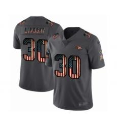 Men's Denver Broncos #30 Phillip Lindsay Limited Black USA Flag 2019 Salute To Service Football Jersey