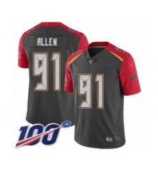 Men's Tampa Bay Buccaneers #91 Beau Allen Limited Gray Inverted Legend 100th Season Football Jersey