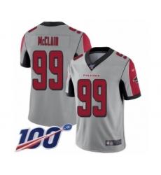 Men's Atlanta Falcons #99 Terrell McClain Limited Silver Inverted Legend 100th Season Football Jersey
