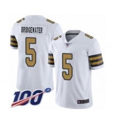 Men's New Orleans Saints #5 Teddy Bridgewater Limited White Rush Vapor Untouchable 100th Season Football Jersey