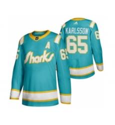 Men's San Jose Sharks #65 Erik Karlsson 2020 Throwback Authentic Player Hockey Jersey