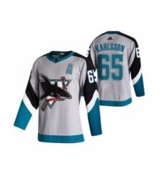 Men's San Jose Sharks #65 Erik Karlsson Grey 2020-21 Reverse Retro Alternate Hockey Jersey