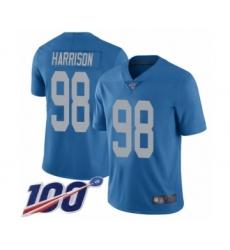 Men's Detroit Lions #98 Damon Harrison Blue Alternate Vapor Untouchable Limited Player 100th Season Football Jersey