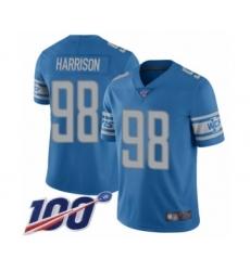 Men's Detroit Lions #98 Damon Harrison Blue Team Color Vapor Untouchable Limited Player 100th Season Football Jersey