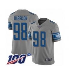 Men's Detroit Lions #98 Damon Harrison Limited Gray Inverted Legend 100th Season Football Jersey