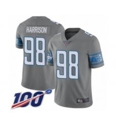 Men's Detroit Lions #98 Damon Harrison Limited Steel Rush Vapor Untouchable 100th Season Football Jersey