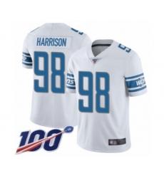 Men's Detroit Lions #98 Damon Harrison White Vapor Untouchable Limited Player 100th Season Football Jersey