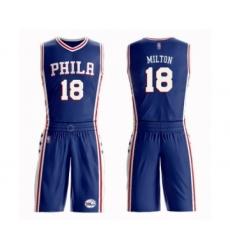 Men's Philadelphia 76ers #18 Shake Milton Authentic Blue Basketball Suit Jersey - Icon Edition
