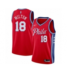 Men's Philadelphia 76ers #18 Shake Milton Authentic Red Finished Basketball Jersey - Statement Edition