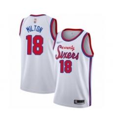 Men's Philadelphia 76ers #18 Shake Milton Authentic White Hardwood Classics Basketball Jersey