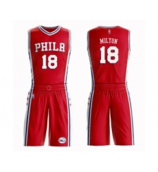 Men's Philadelphia 76ers #18 Shake Milton Swingman Red Basketball Suit Jersey Statement Edition