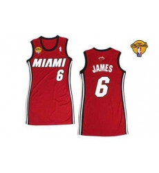 Women NBA Miami Heat #6 LeBron James Red With Finals Patch Dress Stitched NBA Jersey