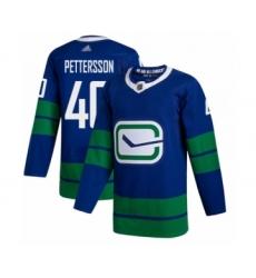 Men's Vancouver Canucks #40 Elias Pettersson Authentic Royal Blue Alternate Hockey Jersey