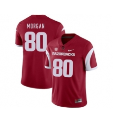 Arkansas Razorbacks 80 Drew Morgan Red College Football Jersey